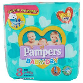 PAMPERS DOWNCOUNT BABY DRY MIDI X20
